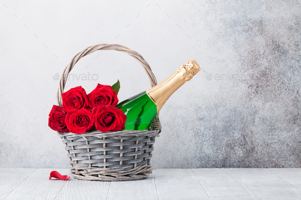 Valentine's day greeting card with roses and champagne - Stock Photo - Images