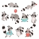 Collection of Raccoon Animal Cartoons - GraphicRiver Item for Sale