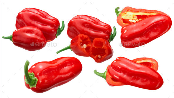 Zavory habanero peppers c.chinense, paths - Stock Photo - Images