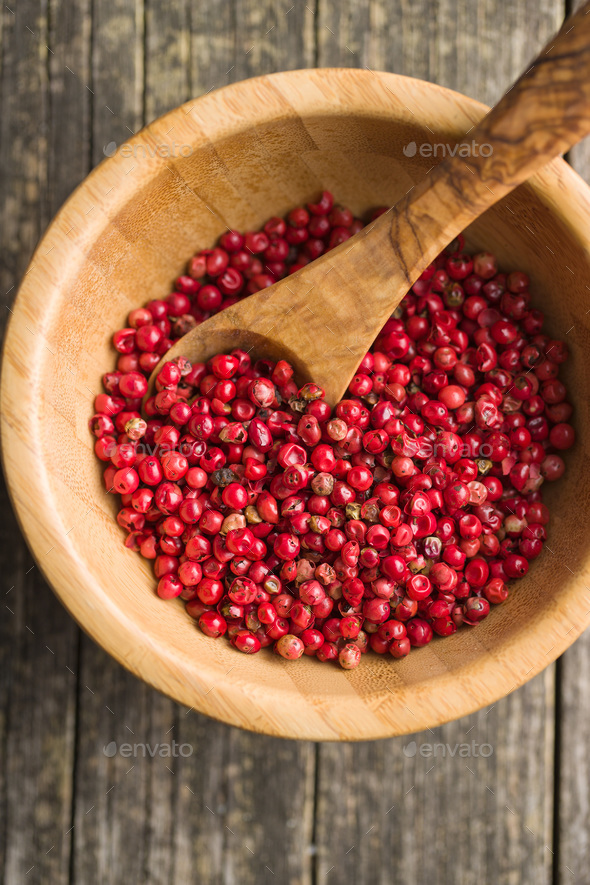 Dried pink peppercorn. - Stock Photo - Images