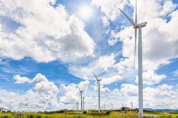 Landscape windmills under the sun - Stock Photo - Images