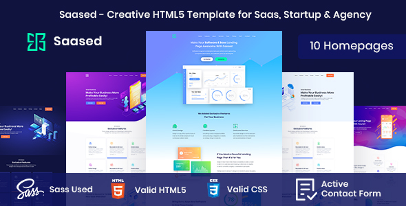 Saased - Creative HTML5 Template for Saas, Startup & Agency