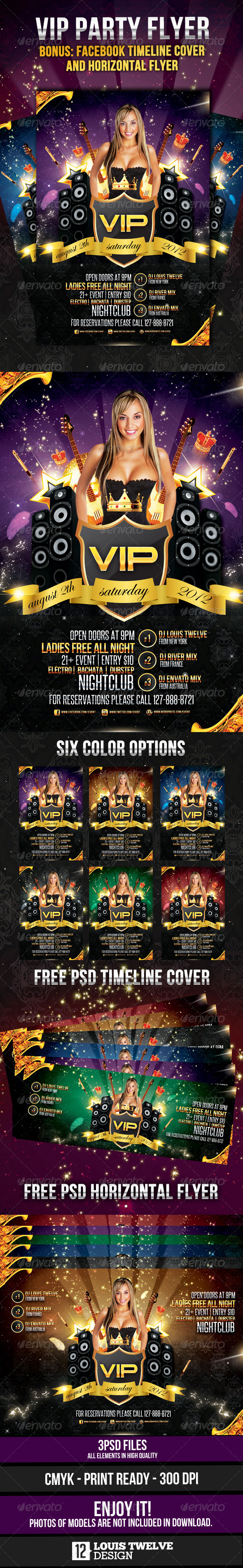 VIP Party - Flyer Vertical & Horizontal + Timeline - Clubs & Parties Events