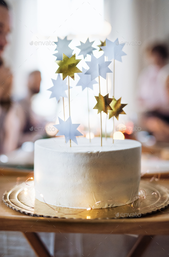 A Close Up Of Birthday Cake On Table An Indoor Party Copy