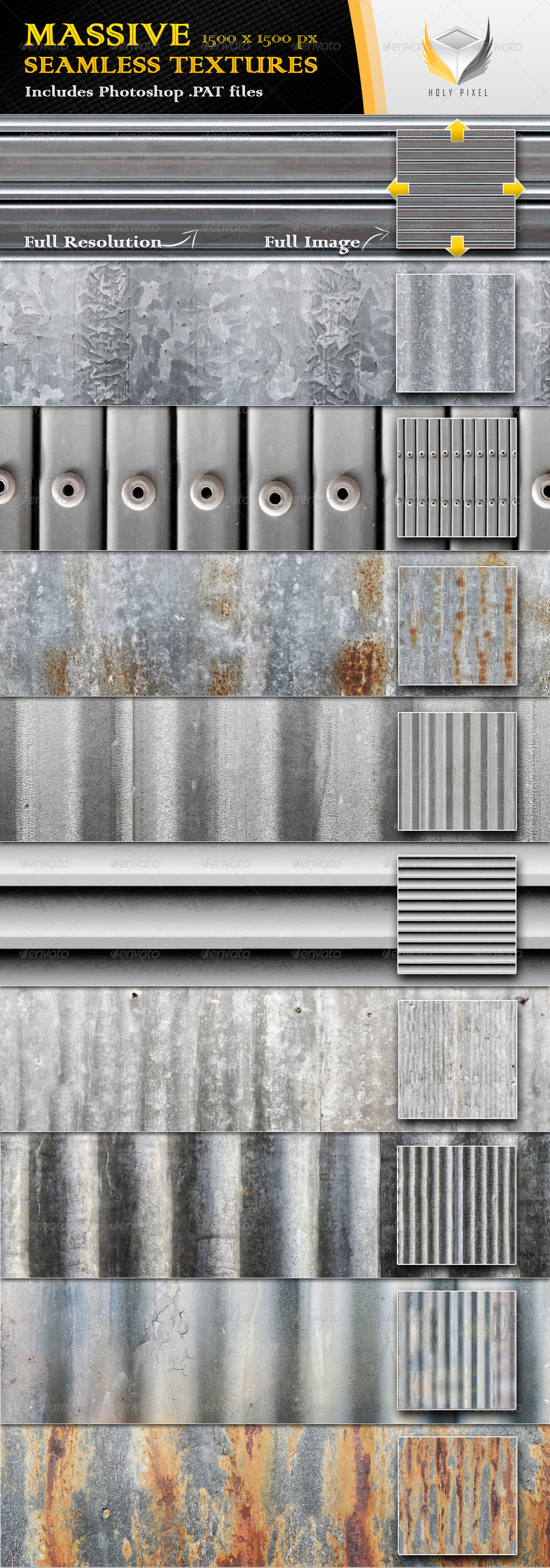 10 Seamless Ribbed Metal Textures - Urban Textures / Fills / Patterns
