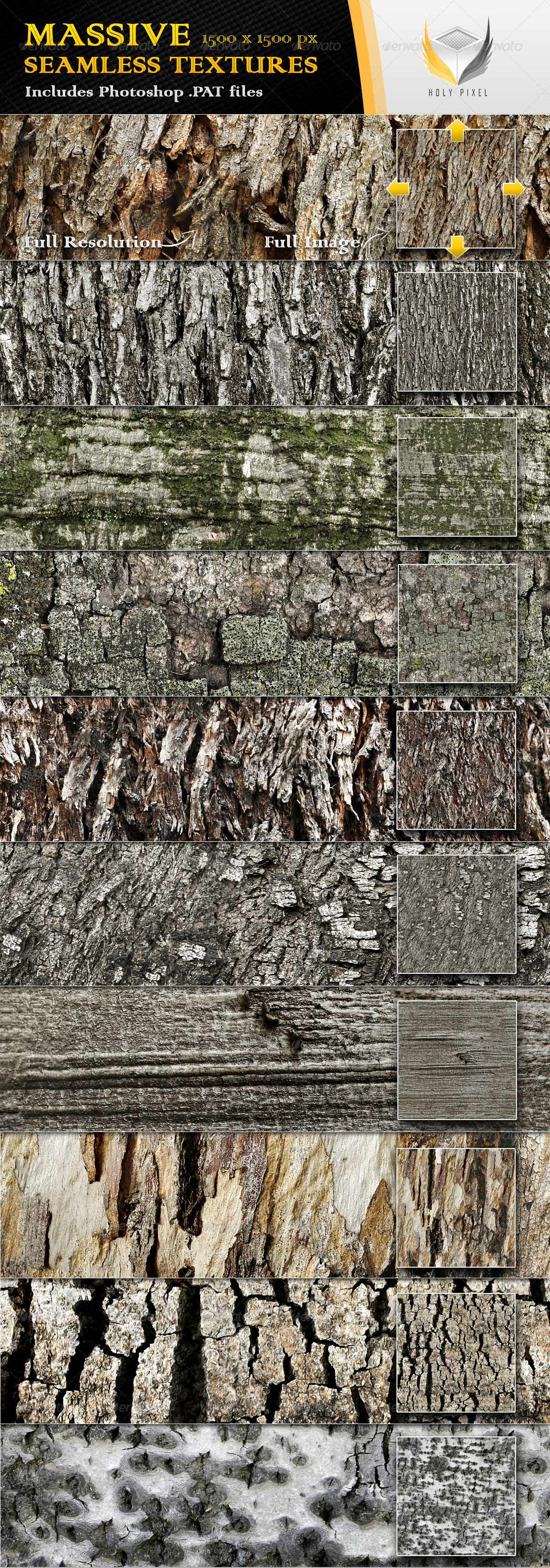 10 Seamless Rough Bark Textures - Nature Textures / Fills / Patterns
