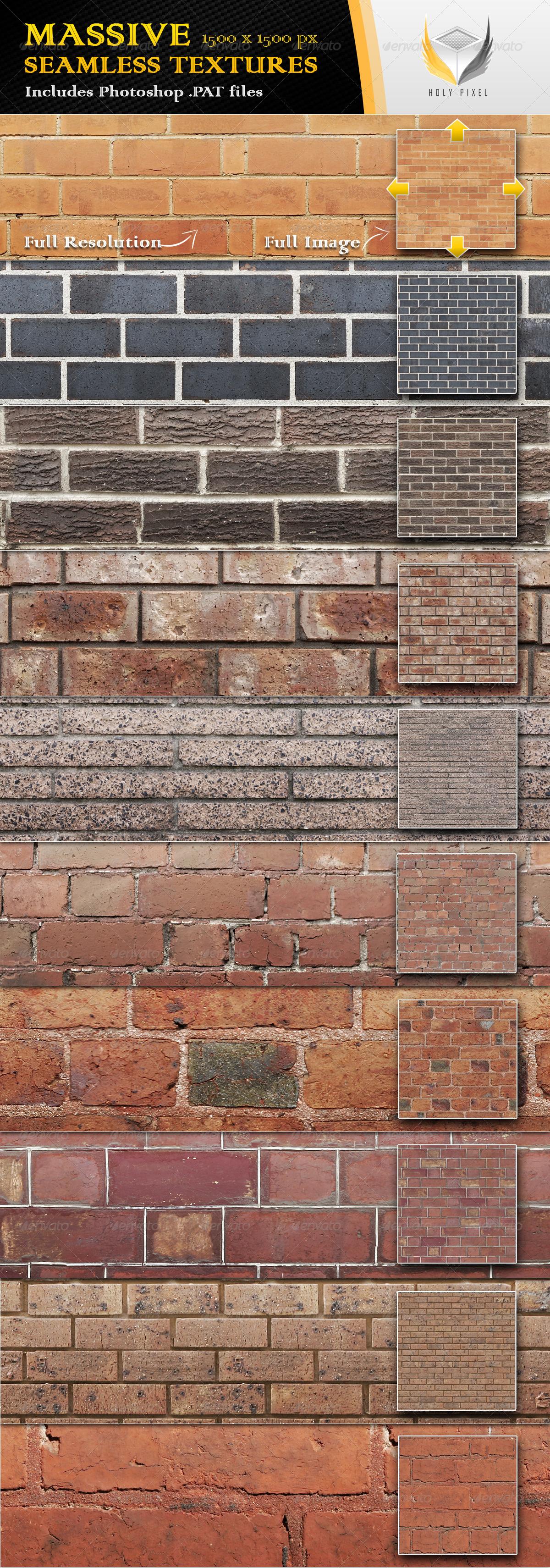 10 Seamless Clean Brick Textures - Urban Textures / Fills / Patterns