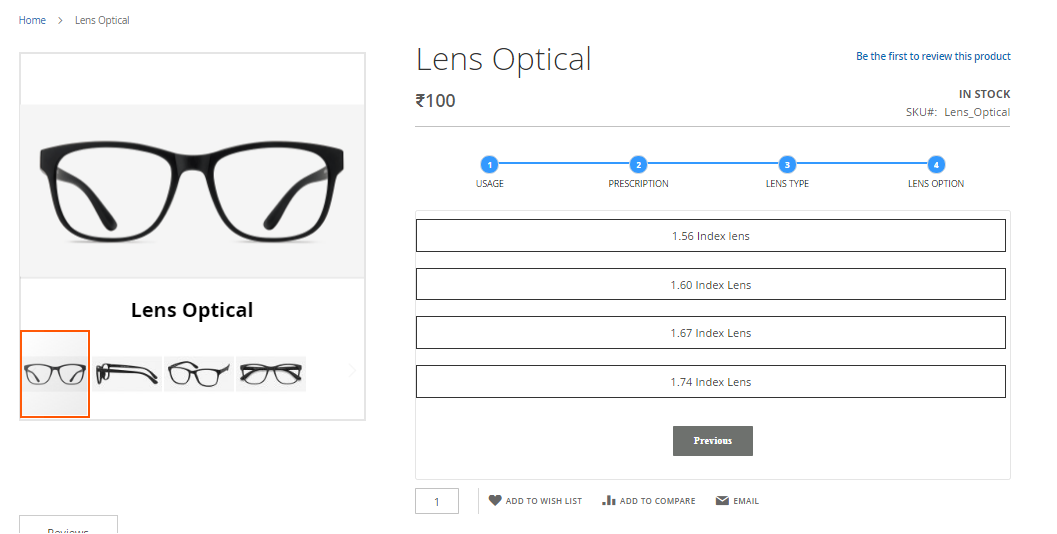 Advance Prescription Lens Configurator Magento2 Extension