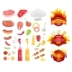 BBQ Barbecue Party Icons Set Vector Illustration - GraphicRiver Item for Sale