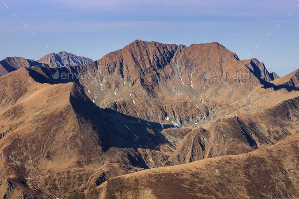 Moldoveanu Peak in sunrise - Stock Photo - Images