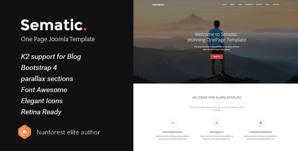 Sematic - One Page Joomla Template