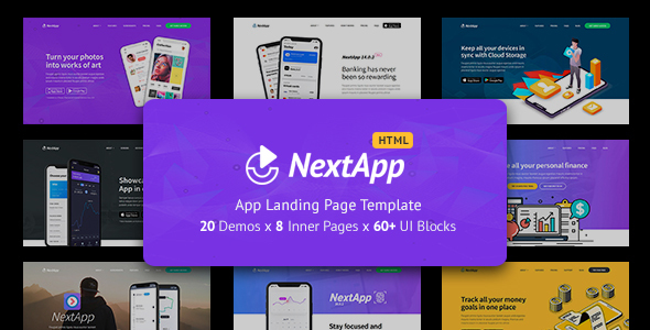 NextApp - App Landing Pages Pack by DSAThemes