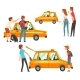 Taxi Service Set, Clients Waving To Taxi, Man - GraphicRiver Item for Sale