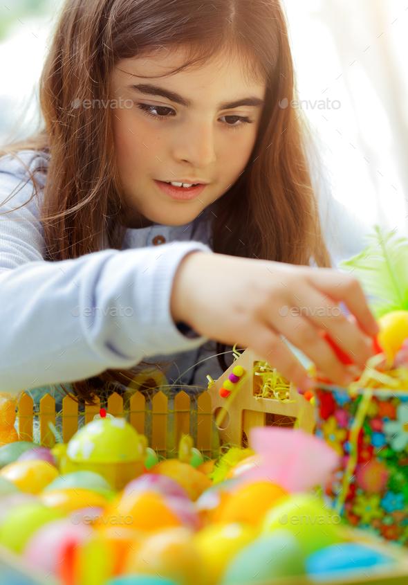 Little girl enjoying Easter holiday - Stock Photo - Images