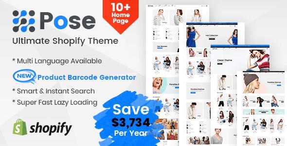 Pose - Fashion Shopify Theme Multipurpose Responsive Template