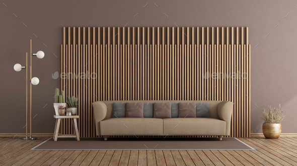 Sofa And Wooden Paneling Stock Photo, Living Room Wood Paneling