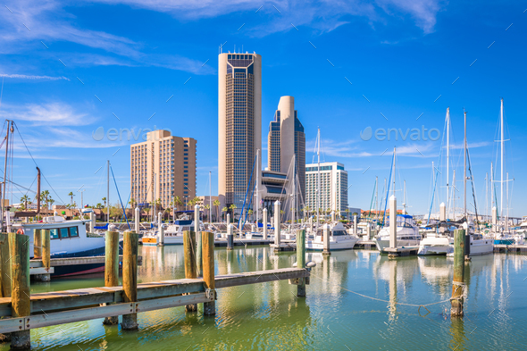 Corpus Christi, Texas, USA skyline on the bay - Stock Photo - Images