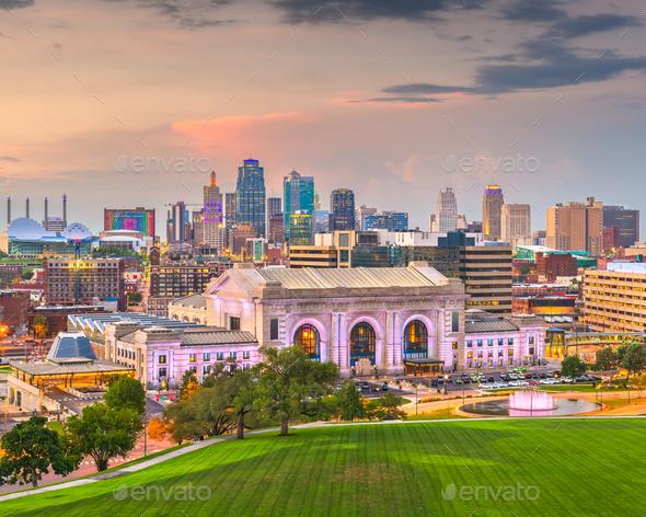 Kansas City, Missouri, USA downtown skyline with Union Station - Stock Photo - Images