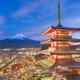 Fujiyoshida, Japan view of Mt. Fuji and pagoda in spring season - PhotoDune Item for Sale
