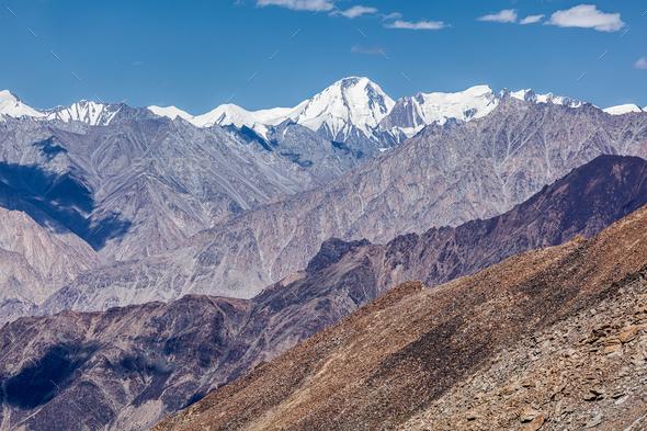Karakorum Range mountains in Himalayas - Stock Photo - Images