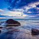 waves and rocks on beach of sunset - PhotoDune Item for Sale