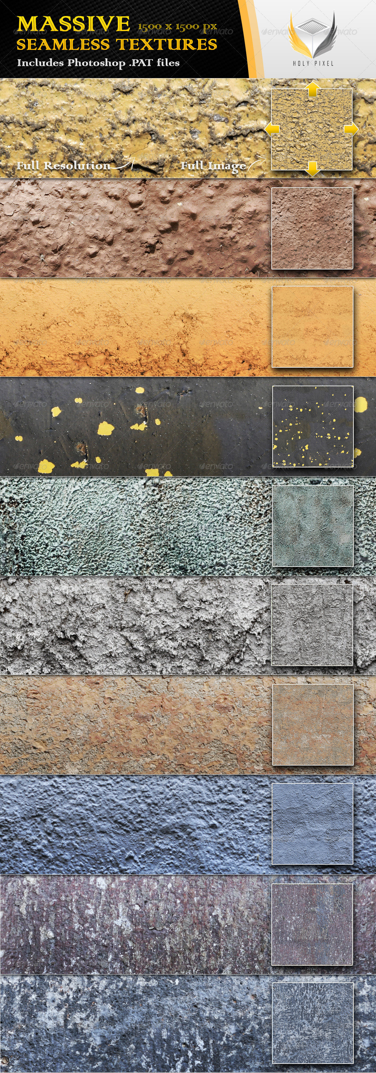 10 Seamless Detailed Surface Textures - Urban Textures / Fills / Patterns