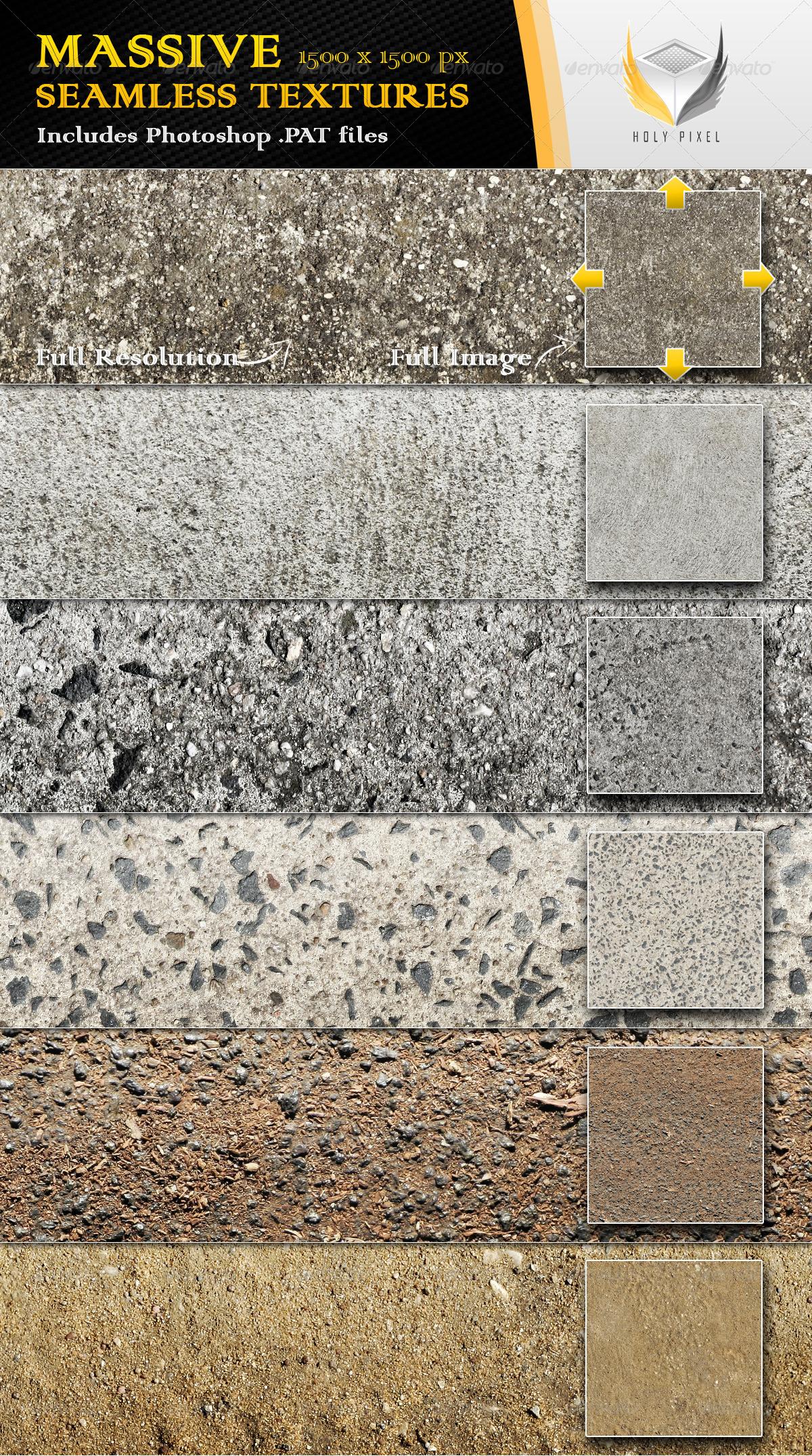 6 Seamless Concrete Textures - Urban Textures / Fills / Patterns
