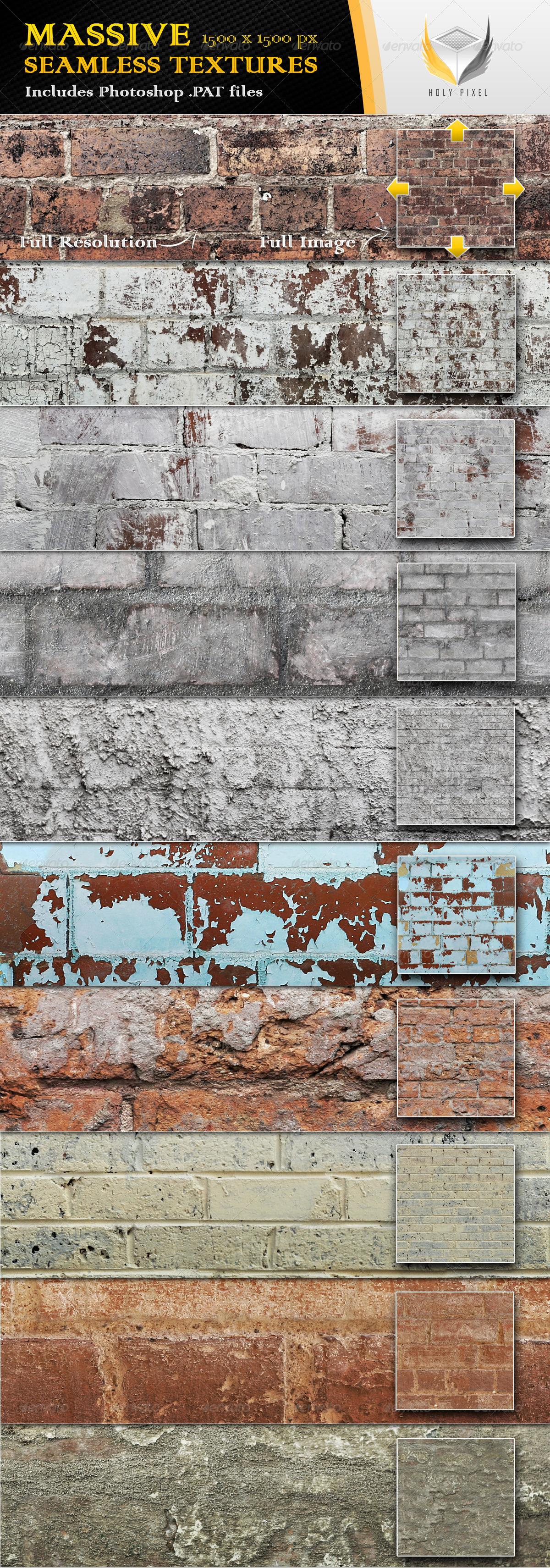 10 Seamless Rough Brick Textures - Urban Textures / Fills / Patterns