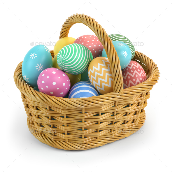 Easter eggs in a basket isolated on white. - Stock Photo - Images