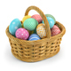 Easter eggs in a basket isolated on white. - PhotoDune Item for Sale
