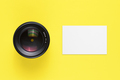 Business card mock-up and camera lens top view - PhotoDune Item for Sale