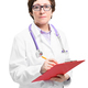 Woman doctor with stethoscope and folder. Isolated on white background - PhotoDune Item for Sale