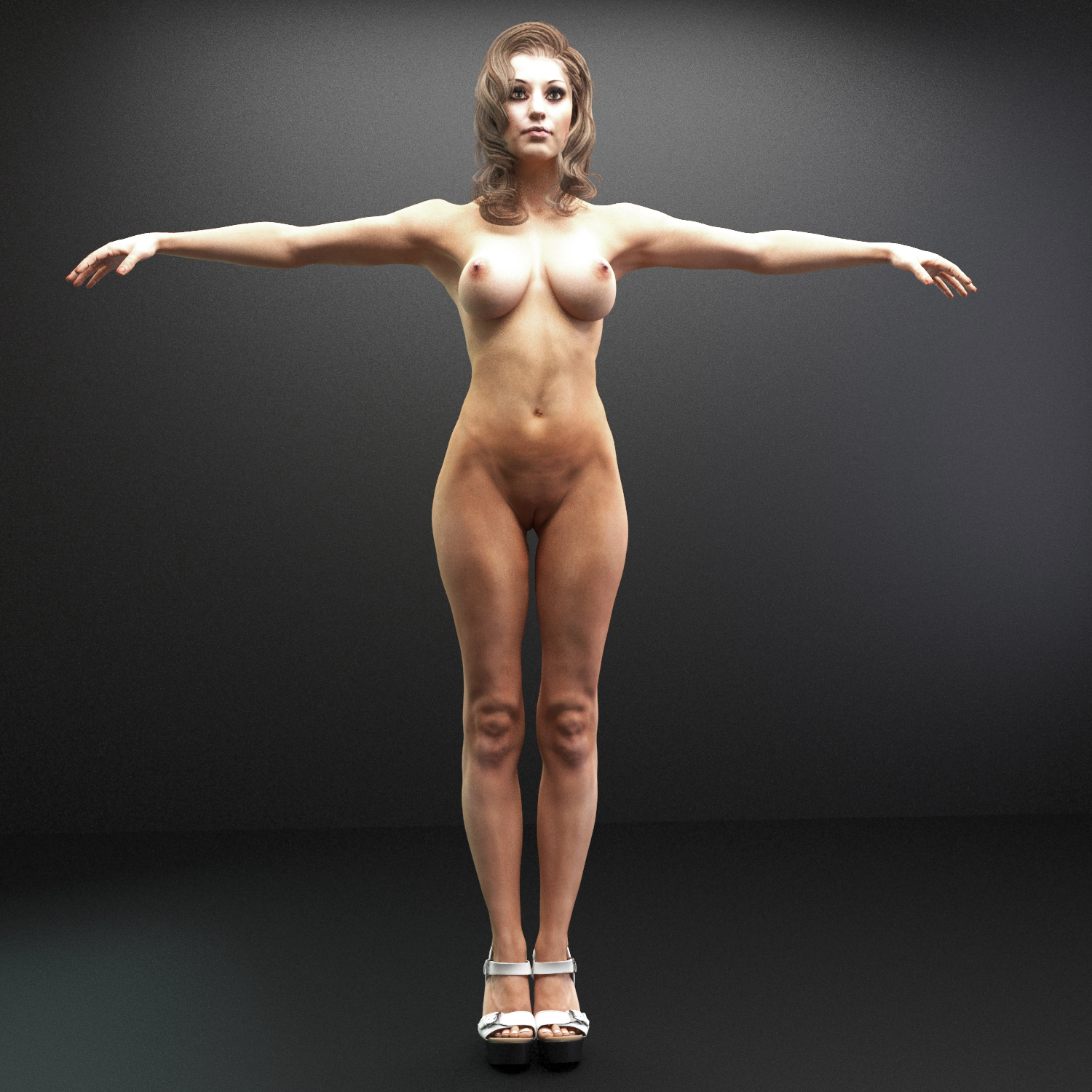 Female nude rigged 3d model