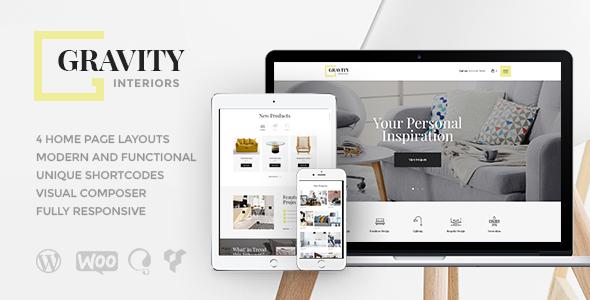 Gravity | A Contemporary Interior Design & Furniture Store WordPress Theme Free Download