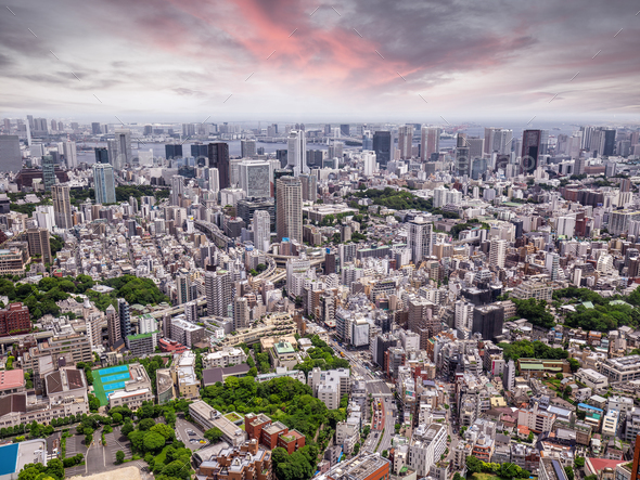 Tokyo cityscape at sunset - Stock Photo - Images