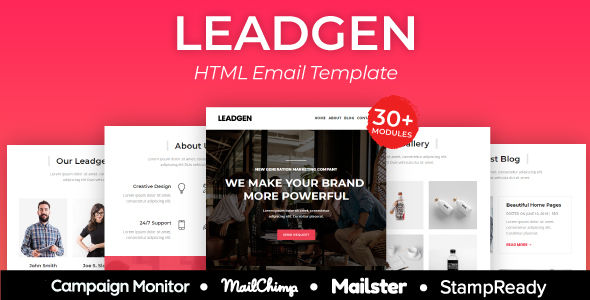 Leadgen - Multiprupose Responsive Agency Email Template + Stampready Builder + Mailster & Mailchimp by AumFusion