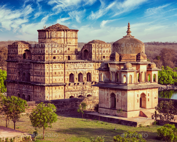 Royal cenotaphs of Orchha, India - Stock Photo - Images