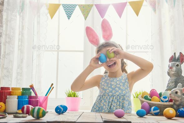 girl wearing bunny ears - Stock Photo - Images