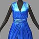Women summer long blue dress white high heel shoes - 3DOcean Item for Sale