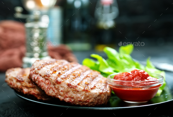 raw burger - Stock Photo - Images
