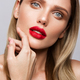 Beautiful young model with red lips isoleted on a wight background - PhotoDune Item for Sale