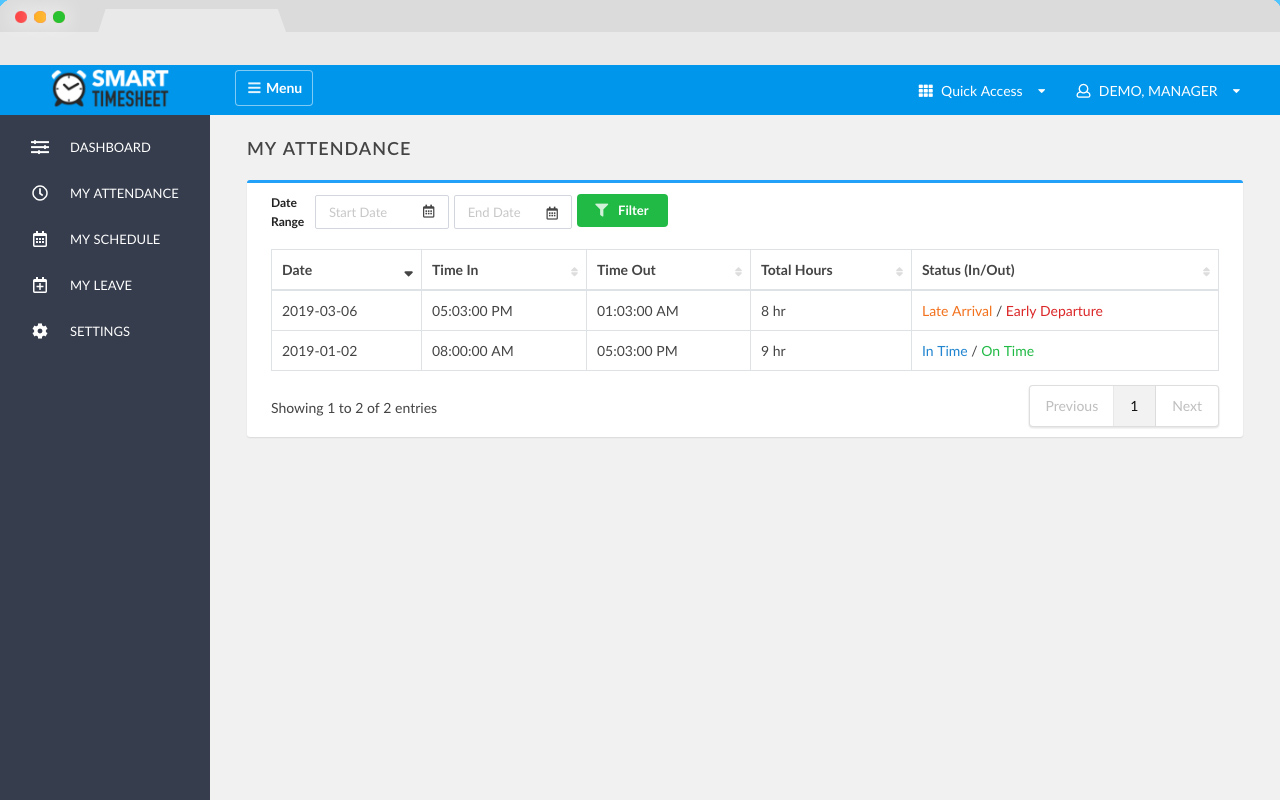 Smart Timesheet — Time and Attendance Management System