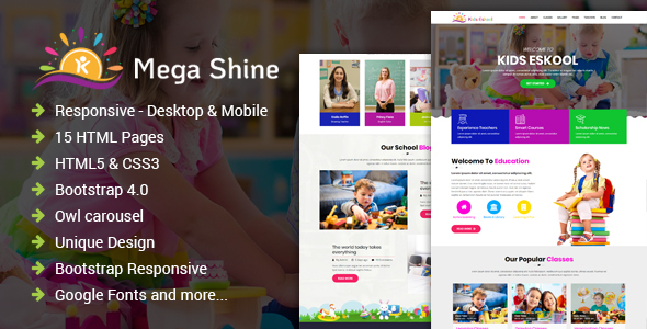 MegaShine- Education Primary School HTML Template