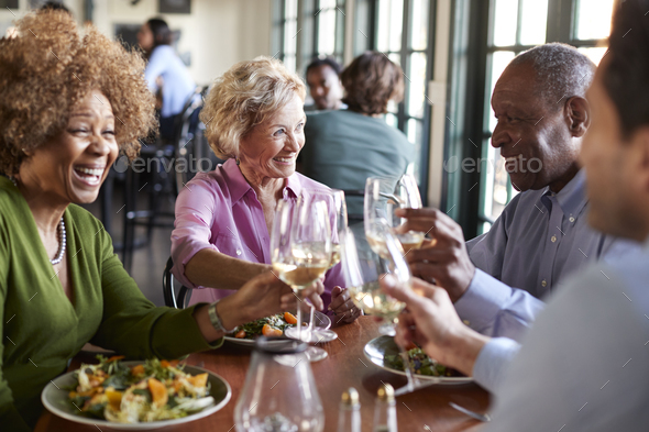 Group Of Smiling Senior Friends Meeting For Meal In Restaurant - Stock Photo - Images