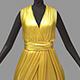 Women summer long gold dress black high heel shoes - 3DOcean Item for Sale