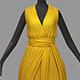 Women summer long yellow dress white high heel shoes - 3DOcean Item for Sale