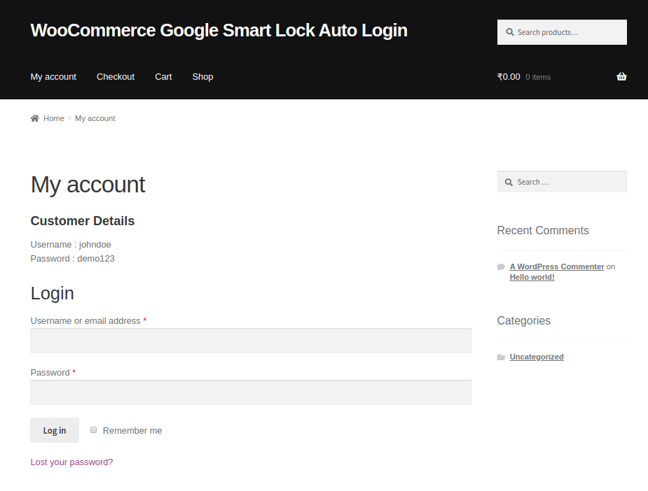 Chrome Auto Login for WooCommerce
