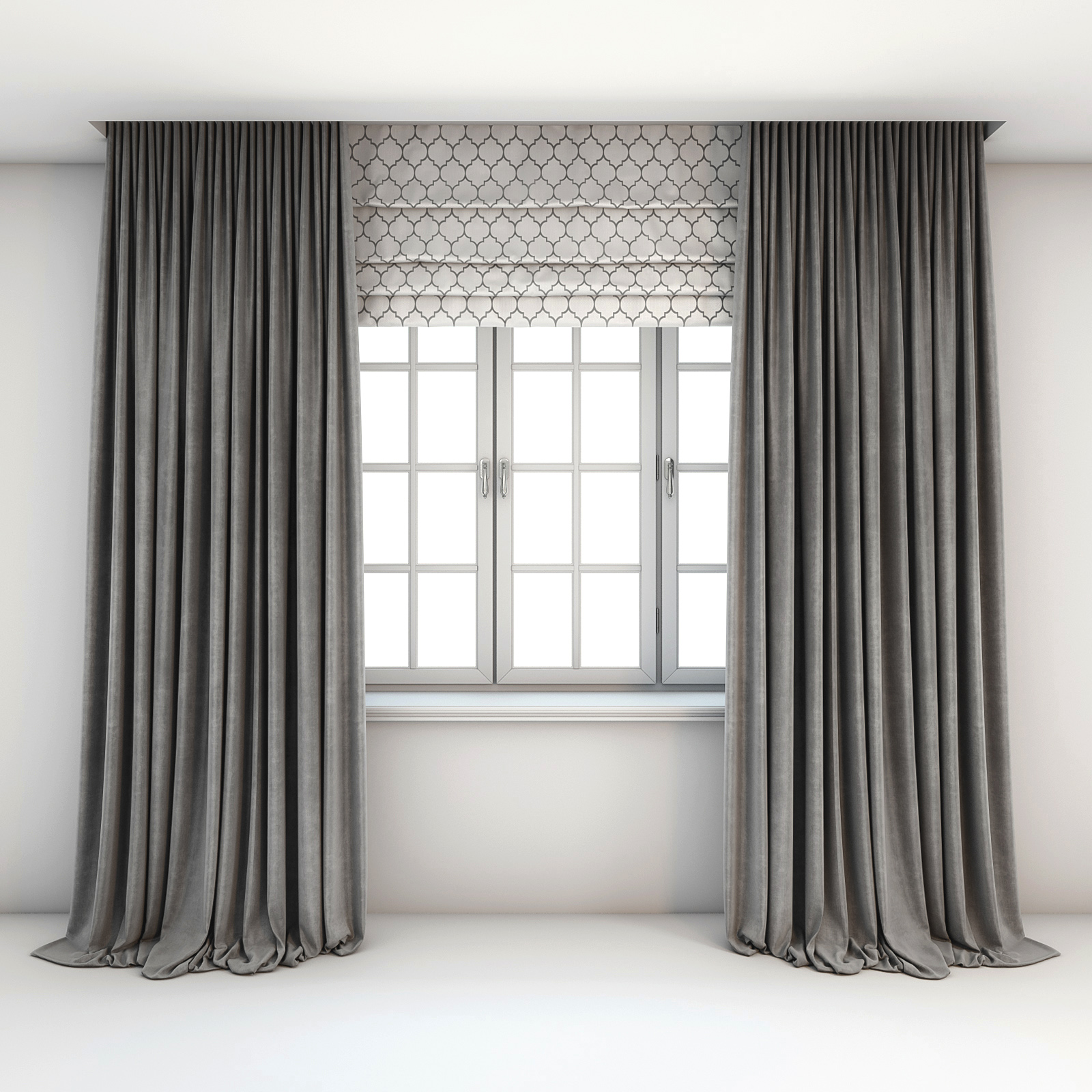 Two Tone Grey Curtains Straight To The Floor Roman Shades