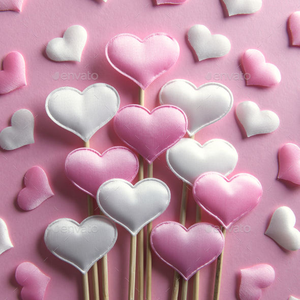 Pink textile hearts on wooden sticks closeup - Stock Photo - Images