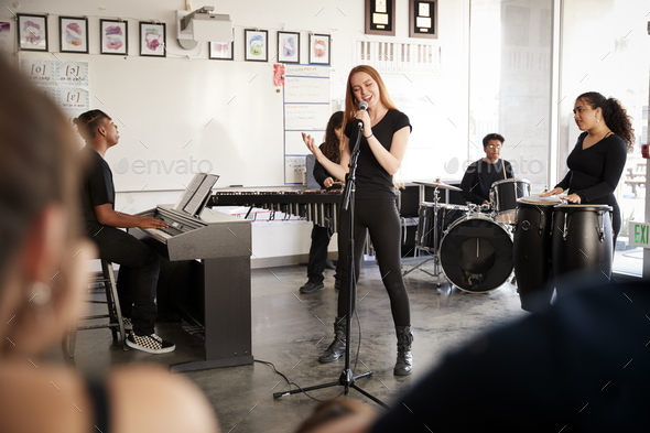 Students At Performing Arts School Playing In Band At Rehearsal - Stock Photo - Images